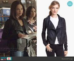Cat's colorblock leather jacket on Beauty and the Beast.  Outfit Details: https://wornontv.net/58153/ #BATB Buy it here: http://wornon.tv/36495