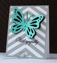 Kreative Kristie: With Sympathy These both use the new butterfly dies & Center Stage Cover Plate from Papertrey Ink. The first card uses the small butterfly die and the second card uses the big one.