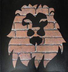 Spray Paint and Stencil Wall Art - Animal - Lion - Brick Effect