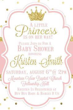 Little Princess Baby Shower Invitation Pink by SweetSimplySouthern