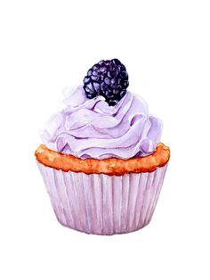 【小美食】水彩 手绘 绘画 插画 小清新 杯子蛋糕 奶油 cupcake 甜品