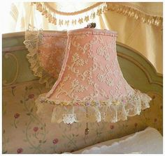 Rare Circa 1920s Exquisite Schiffli Embroidery Net Lace Pink Headboard Bed Lamp Mint Condition