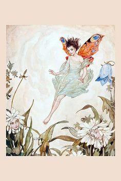Watercolor of a fairy in a flower garden by Erich Shutz, an American illustrator working during the 20th century.