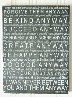 Subway Art Mother Theresa Quote