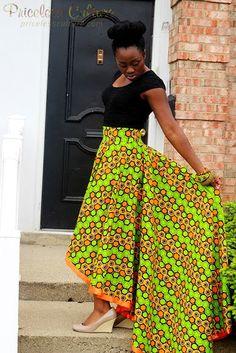 Green and orange Ankara Skirt, High Low Ankara Skirt, Ankara Wedding Dress, Ankara Prom, Plus Size A