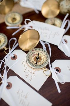 destination wedding compass favors - photo by Cynthia Rose Photography