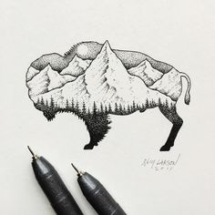 I like basketball as much as bison, but like drawing bison more. Sam Larson Freelance Artist - Portland, OR Art And Illustration, Ink Illustrations, Sam Larson, Tattoo Drawings, Art Drawings, Bison Tattoo, Future Tattoos, Ink Art, Tattoo Studio