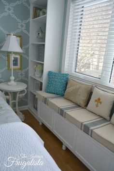 Custom Diy Bookcases And A Window Seat In The Master Bedroom