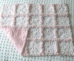 Made with Pink & White Daisy Hofmann Vintage Chenille (100% Cotton) and Pink & White Poka Dot Design Flannel.