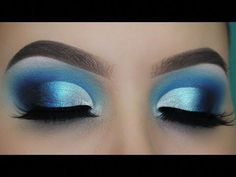Blue Smokey Defined Cut Crease tutorial! - YouTube #Wingedliner Maquillaje Cut Crease, Maquillage Yeux Cut Crease, Eye Makeup Cut Crease, Eye Makeup Steps, Makeup Eye Looks, Blue Eye Makeup, Smokey Eye Makeup, Eyeshadow Makeup, Eyeshadow Palette