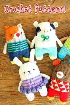 If you're looking for a cute, colorful animal amigurumi pattern that is not too difficult to crochet: look no further than Big Bebez! Diy Crochet Amigurumi, Diy Crochet Toys, Crochet Bear, Cute Crochet, Amigurumi Patterns, Amigurumi Doll, Crochet Animals, Crochet Dolls, Crochet Projects