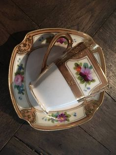 Antique Japanese Nippon Demitasse Tea Cup Saucer Set Hand