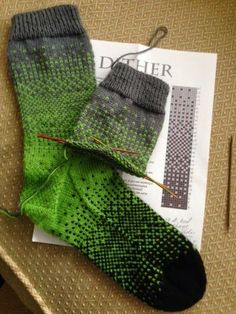 "Ravelry First seen in FB Addicted to Sock Knitting.the Dither pattern free down load on Ravelry ""Dither Sock"" worth the knit. Loved how fast this . Crochet Socks, Knit Mittens, Knit Or Crochet, Knitting Socks, Free Knitting, Knitting Patterns, Crochet Patterns, Knit Socks, Patterned Socks"