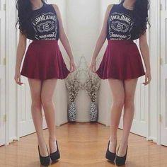 Short,  red skirt