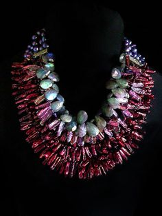 Mixed necklace: Gretchen Shields of Laguna Niguel, California (Link not… Statement Jewelry, Pearl Jewelry, Beaded Jewelry, Jewelery, Jewelry Necklaces, Beaded Necklace, Pearl Necklace, Jewelry Crafts, Jewelry Art