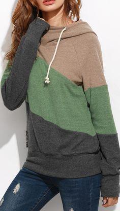Color block raglan sleeve hooded sweatshirt collect.