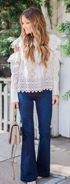 #spring #outfits White Cold Shoulder Top & Wide Jeans
