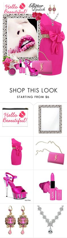 """Hello Beautiful: Glitter Lips"" by ester-ludwig ❤ liked on Polyvore featuring beauty, L'Objet, Notte by Marchesa, Yves Saint Laurent, Pleaser, NYX, Icz Stonez and glitterlips"