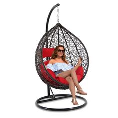 2018 Best Indoor Swing Chair Garden Swing Chair In Red Cushion Farmhouse Table Chairs, Wayfair Living Room Chairs, Leather Dining Room Chairs, Accent Chairs For Living Room, Kitchen Chairs, Kitchen Shelves, Hanging Swing Chair, Swinging Chair, Swing Chairs