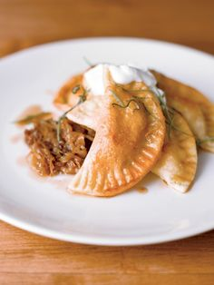 """Tasty autumnal dishes: pumpkin and cheddar-filled pierogis, from """"The Professional Chef"""" by @The Culinary Institute of America"""
