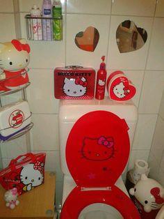 Hello Kitty red toilet