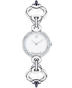 Movado Women's Swiss Circlo Diamond (1/5 ct. t.w.) Stainless Steel Bracelet Watch 24mm 0606489