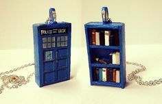 A Dr Who bookshelf... as a necklace! Lots of types of bookshelf necklaces, £32.00 on Etsy.