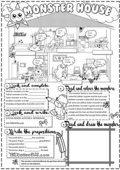 this worksheet is about rooms in the house ,body parts,colours,prepositions and family members.It is fully editable. - ESL worksheets