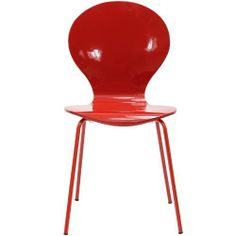 "LexMod Insect Side Chair in Red by LexMod. $79.00. Wood laminate body. Chrome legs. Item is stackable. For true flights of fancy, no house is complete without an Insect Chair. Good for dinning room or living room, this creatively styled piece is sure to draw attention and admiration. Overall Product Dimensions: 21.5""D x 17.5""W x 34""H   Seat Height: 18""   Seat Depth: 16"". Save 56% Off!"