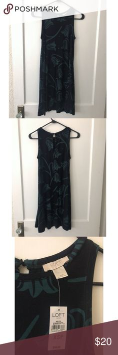 LOFT Dress NWT Cute swingy dress from Ann Taylor LOFT Outlet. Brand new with tag. Black with forest green designs. Has keyhole button on back. Size is XS Petite. LOFT Dresses