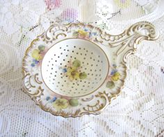 Antique Dresden Porcelain Tea Strainer Hand by TheWhistlingMan, sold