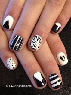 black, white and pink nails | January Favorites | I Love Pink Nails