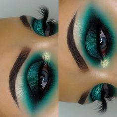 makeup green – Hair and beauty tips, tricks and tutorials Makeup Goals, Makeup Inspo, Makeup Art, Makeup Inspiration, Hair Makeup, Goth Eye Makeup, Gothic Makeup, Fantasy Makeup, Makeup Geek