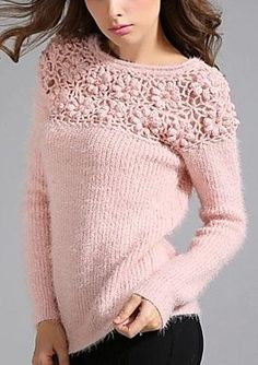 Round Collar Casual Fashion Cut Out Sweater