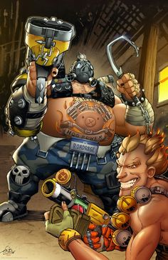 Roadhog and Junkrat Overwatch art by Eric Ninaltowski colors by Teo Gonzalez  More art and prints for sale on www.ericninaltowskiart.com