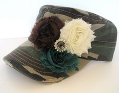 Cadet Military Distressed Hat in Green Camouflage with Three Chiffon Shabby Frayed Fabric Flowers and Rhinestone Accent Duck Dynasty by theraggedyrose on Etsy