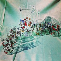 Hand painted pitcher and 6 glasses set of by BinkiHandPaintedGlas