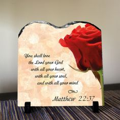 You shall love the Lord your God... Matthew 22:37 Christian decor. You shall love the Lord your God with all your heart, with all your soul, and with all your mind Matthew 22:37 SOLID NATURAL HIGH QUALITY STONE A modern alternative to the classic decorative tiles and plates, these heavy-weight stone panels show off the picture in high-def. Dyes are directly infused into the stone, giving the images brightness and definition like you've never seen it before. This design won't fade over time…