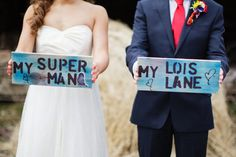 Superhero Power – A Superman-Inspired Wedding. I'd make these easily!! Have them somewhere at the reception :)