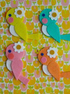 1 Wool Felt Retro Birdie Hanging Decoration Apricot by aliceapple