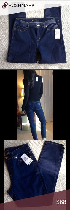"""Michael Kors Overdyed Indigo Skinny Jeans 10 Very stylish NWT Michael Kors overdyed Indigo Skinny Jeans.  Size 10 women.  Soft and stretchy.  Hugs your body to show off your curves. Inseam 29.5"""", rise11"""".  Smoke free environment. Michael Kors Jeans Skinny"""