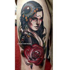 Tattoo by Justin Hartman Pin Up Tattoos, Head Tattoos, Love Tattoos, Beautiful Tattoos, Tattoos For Women, Tatoos, Tattoo Hurt, Arm Tattoo, Tattoo Ink