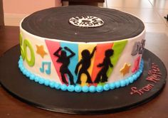 Disco record theme cake.JPG
