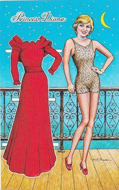 Princess Diana Paper Doll Royalty Postcard 1983 Ugliest  Diana ever.