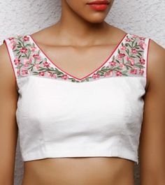 Off White Cotton Embroidered Blouse