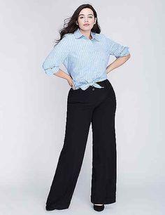 Lena Tailored Stretch Wide Leg Plus Size Pants