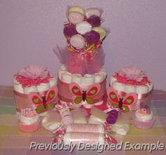 decorating ideas for baby shower for girl | ... Baby Love Diaper Cakes Table Centerpieces Shower Favors Baby Shower