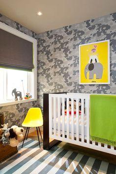 Alison Davin- Camouflage wallpaper, art, color scheme, bed