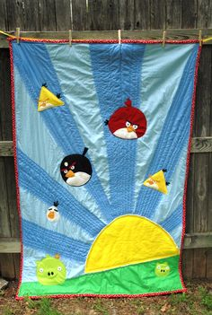 Angry birds quilt. Already planning a creeper quilt but had to pin this. Bird Sew, Quilti Thing, Quilts, Quilt Bird, Children Quilt, Birds, Bird Quilt, Angri Bird, Bird Pattern