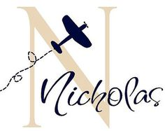 Airplane and Name Vinyl Wall Decal - Personalized Baby Boy Name Wall Decal - Plane Wall Decals 22H x 32W INA0016